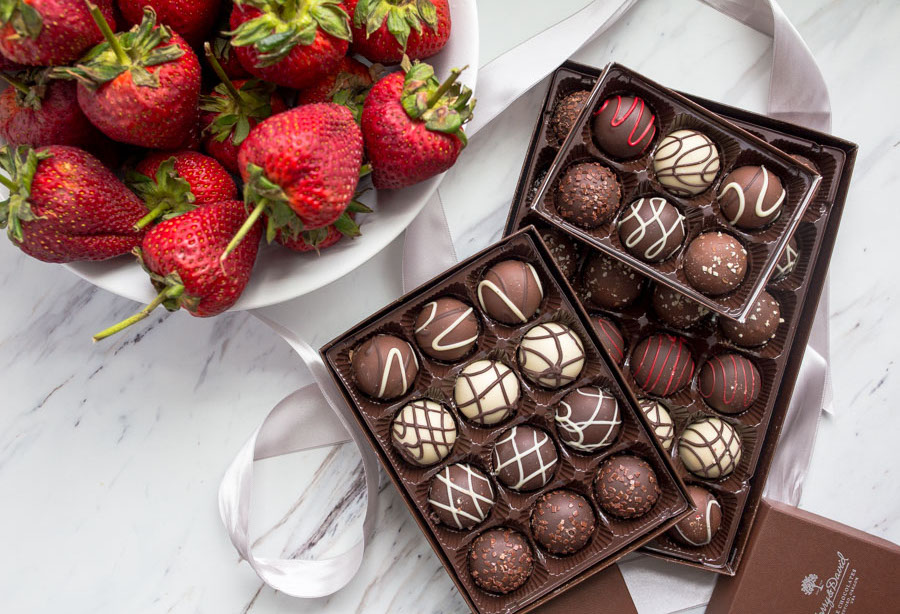Harry & David signature truffles and Giant Strawberries