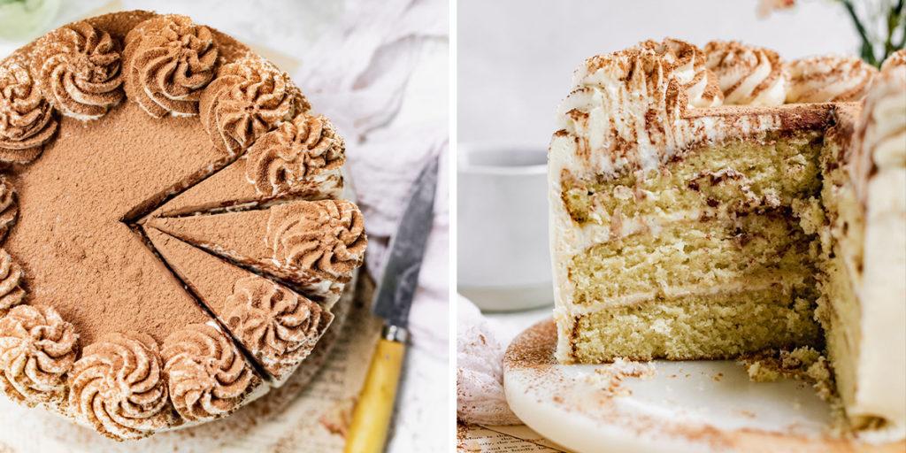 cut tiramisu cake