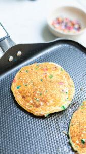 Confetti pancakes image - confetti pancakes cooking in pan
