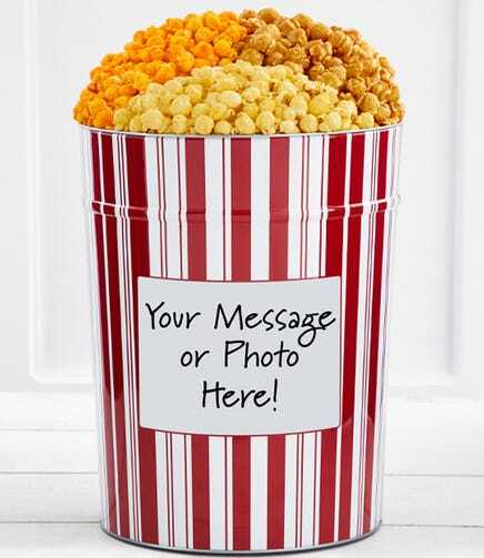 Harry & David tri-flavored popcorn tin