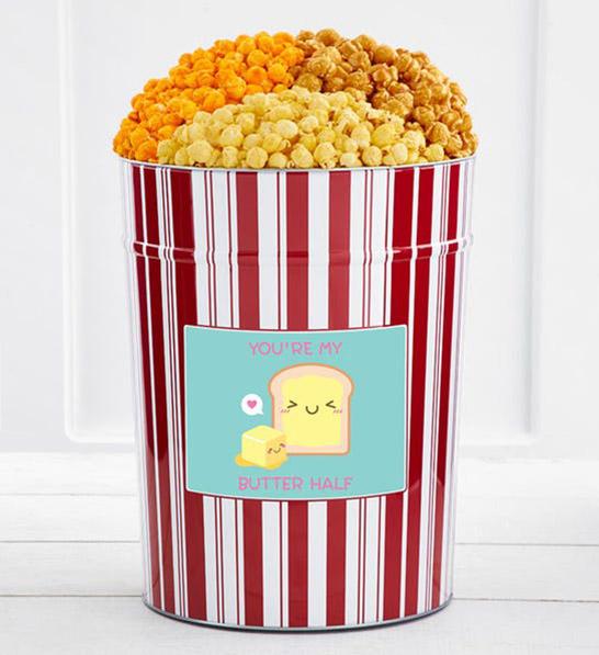 anniversary gift guide image - personalized 4 gallon popcorn tin