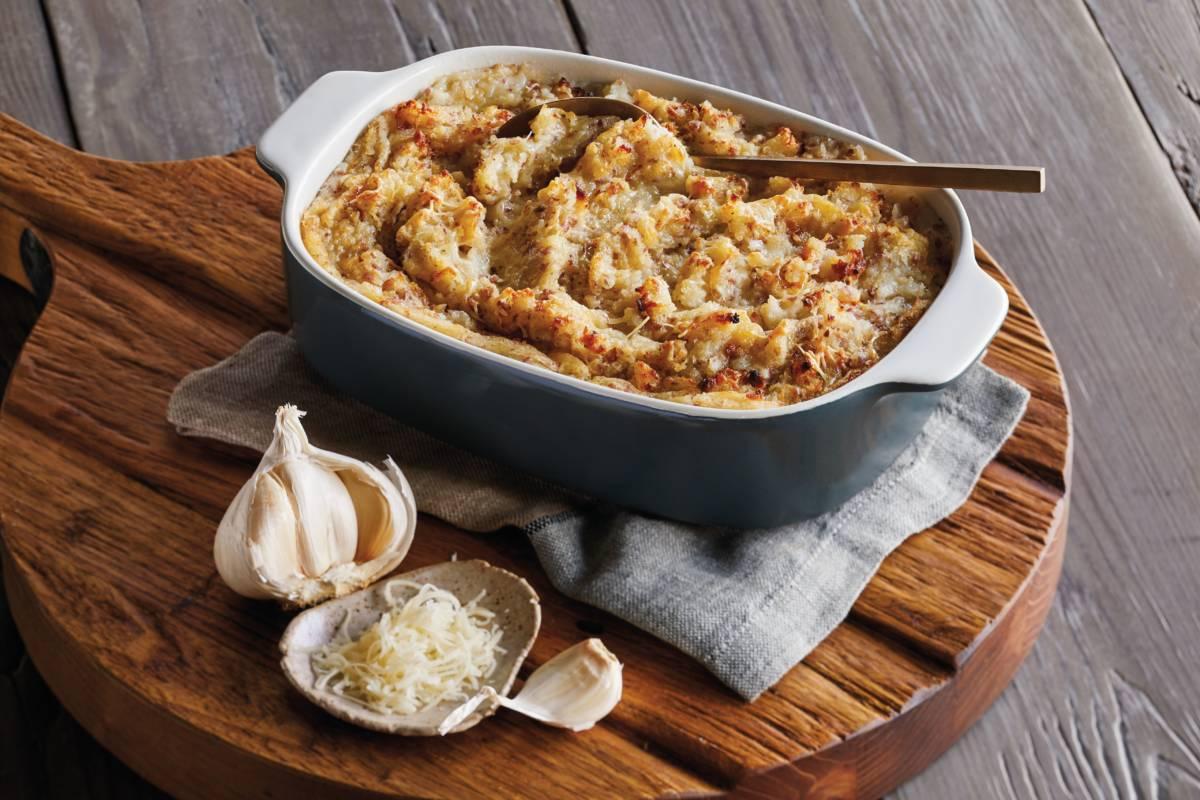 rogue creamery image - gruyere and garlic red mashed potatoes